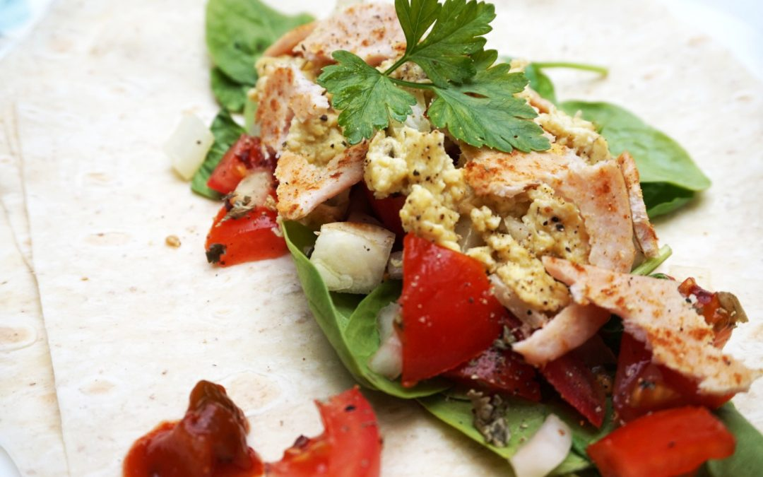 High protein breakfast wrap with tomato salsa