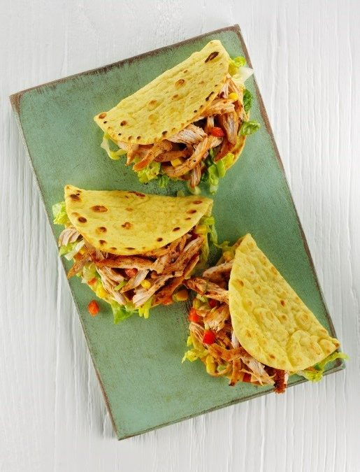Corn Folded Flatbreads with spicy shredded chicken and sunshine salad