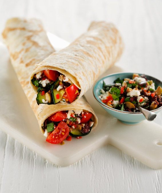 Tom Daley's Skinni Wrap with chargrilled courgette & spicy feta and mixed olive tapenade