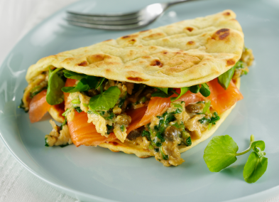 Tom Daley's Brioche Folded Flatbreads with smoked salmon, watercress & caper scramble