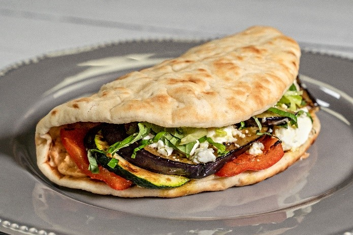 Chargrilled vegetables and feta cheese gyros
