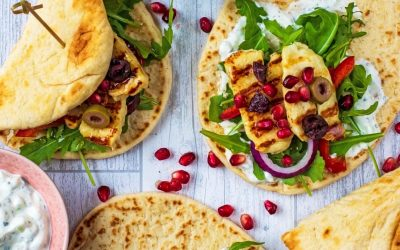 Grilled Halloumi Greek Flatbreads