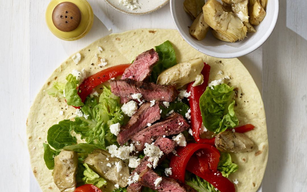 Griddled Steak, Feta and Roasted Vegetable Wrap